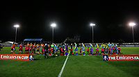Blackpool and Solihull Moors' players shake hands before the match<br /> <br /> Photographer Andrew Kearns/CameraSport<br /> <br /> The Emirates FA Cup Second Round - Solihull Moors v Blackpool - Friday 30th November 2018 - Damson Park - Solihull<br />  <br /> World Copyright © 2018 CameraSport. All rights reserved. 43 Linden Ave. Countesthorpe. Leicester. England. LE8 5PG - Tel: +44 (0) 116 277 4147 - admin@camerasport.com - www.camerasport.com