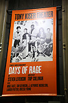 "Theatre Marquee for the Second Stage Production of ""Days Of Rage"" at Tony Kiser Theater on October 30, 2018 in New York City."