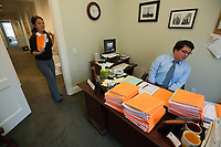 Occidental College Admissions staff process applications in Collins House, Feb. 13, 2009 (Photo by Marc Campos, Occidental College Photographer)