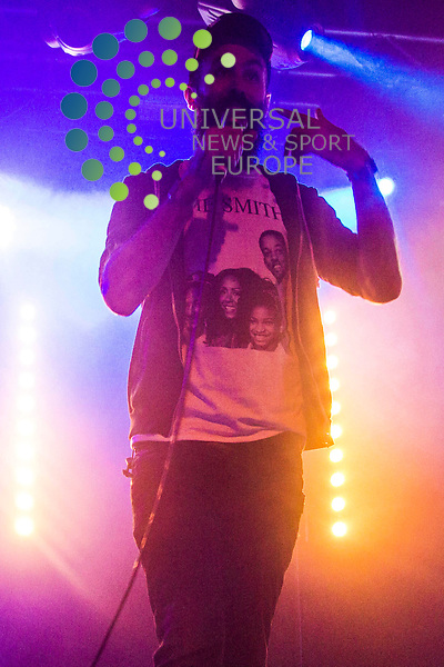 Dan le sac Vs Scroobius Pip play a sold out show at the Liquid Rooms in Edinburgh. Dan le sac Vs Scroobius Pip are a hip-hop duo, combining electronic beats with sung, spoken, and rapped lyrics. The pair are Daniel Stephens (aka dan le sac), and David Peter Meads (aka Scroobius Pip).<br /> <br /> Picture: Duncan McGlynn/Universal News And Sport (Scotland) 20/01/2014.
