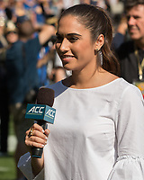 ACC sideline football reporter Amanda Kuhl. The North Carolina Wolfpack defeated the Pitt Panthers 35-17 at Heinz Field, Pittsburgh, PA on October 14, 2017.