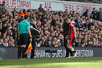 Jack Wilshere of Bournemouth is substituted after appearing to get injured during the Premier League match between Tottenham Hotspur and Bournemouth at White Hart Lane, London, England on 15 April 2017. Photo by Mark  Hawkins / PRiME Media Images.