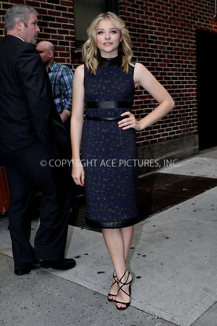 WWW.ACEPIXS.COM . . . . .  ....May 3 2012, New York City....Actress Chloe Moretz made an appearance at the Late Show with David Letterman on May 3 2012 in New York City....Please byline: NANCY RIVERA- ACEPIXS.COM.... *** ***..Ace Pictures, Inc:  ..Tel: 646 769 0430..e-mail: info@acepixs.com..web: http://www.acepixs.com
