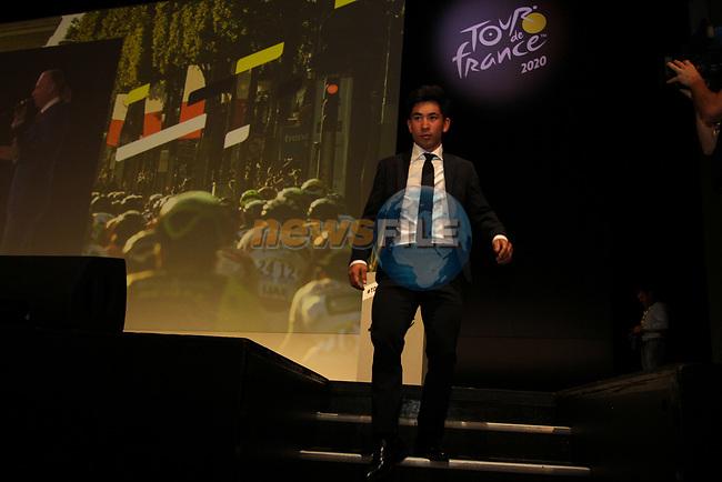 Caleb Ewan (AUS) at the Tour de France 2020 route presentation held in the Palais des Congrès de Paris (Porte Maillot), Paris, France. 15th October 2019.<br /> Picture: ASO/Thomas Colpaert | Cyclefile<br /> <br /> All photos usage must carry mandatory copyright credit (© Cyclefile | ASO/Thomas Colpaert)