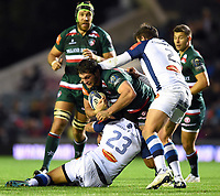 Dom Barrow of Leicester Tigers takes on the Castres defence. European Rugby Champions Cup match, between Leicester Tigers and Castres Olympique on October 21, 2017 at Welford Road in Leicester, England. Photo by: Patrick Khachfe / JMP