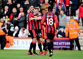 3rd December 2017, Vitality Stadium, Bournemouth, England; EPL Premier League football, Bournemouth versus Southampton; Ryan Fraser of Bournemouth celebrates scoring his sides first goal of the game with Andrew Surman of Bournemouth and Jermain Defoe of Bournemouth