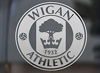 The Wigan Athletic club crest<br /> <br /> Photographer Dave Howarth/CameraSport<br /> <br /> The EFL Sky Bet Championship - Wigan Athletic v Fulham - Wednesday July 22nd 2020 - DW Stadium - Wigan<br /> <br /> World Copyright © 2020 CameraSport. All rights reserved. 43 Linden Ave. Countesthorpe. Leicester. England. LE8 5PG - Tel: +44 (0) 116 277 4147 - admin@camerasport.com - www.camerasport.com