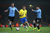 Danilo of Brazil bursts through the Uruguay defence during Brazil vs Uruguay, International Friendly Match Football at the Emirates Stadium on 16th November 2018