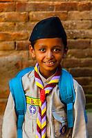 A Nepal Scout (Boy Scout), Bhaktapur, Kathmandu Valley, Nepal.