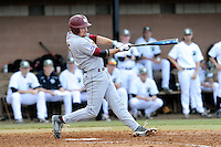First baseman Mark Lowrie (15) of the Winthrop University Eagles bats in a game against the University of South Carolina Upstate Spartans on Wednesday, March 4, 2015, at Cleveland S. Harley Park in Spartanburg, South Carolina. Upstate won, 12-3. (Tom Priddy/Four Seam Images)