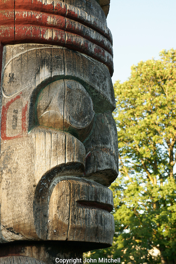 Face profile  on the Centennial Totem Pole in Vanier Park, Vancouver, British Columbia, Canada