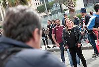 La madre Flora in attesa della sentenza nel processo per la morte di Davide Bifolco ragazzo ucciso da un carabiniere  all'esterno del palazzo di Giustizia di Napoli<br /> nella foto
