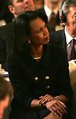 United States Secretary of State Condoleeza Rice listens to Rock singer, activist Bono speak at the National Prayer Breakfast in Washington,DC on February 2, 2006.  <br /> Credit: Dennis Brack - Pool via CNP