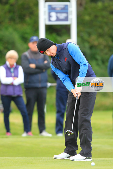 Euan Walker (GB&I) on the 2nd during the Foursomes at the Walker Cup, Royal Liverpool Golf CLub, Hoylake, Cheshire, England. 07/09/2019.<br /> Picture Thos Caffrey / Golffile.ie<br /> <br /> All photo usage must carry mandatory copyright credit (© Golffile   Thos Caffrey)