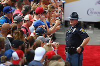 May 28, 2017; Indianapolis, IN, USA; An Indiana State Police officer on patrol in the infield during the 101st Running of the Indianapolis 500 at Indianapolis Motor Speedway. Mandatory Credit: Mark J. Rebilas-USA TODAY Sports