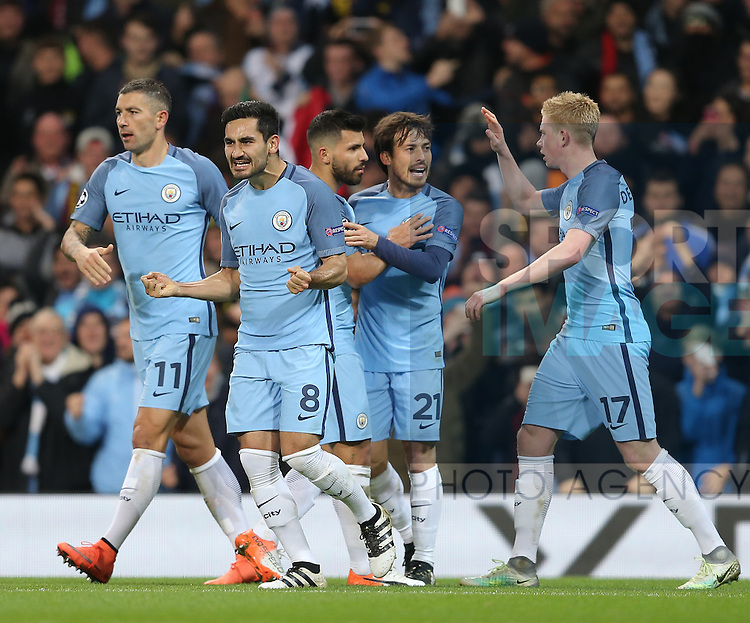 Ilkay Gundogan of Manchester City celebrates the equalising goal during the Champions League Group C match at the Etihad Stadium, Manchester. Picture date: November 1st, 2016. Pic Simon Bellis/Sportimage
