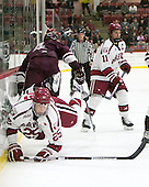 Wiley Sherman (Harvard - 25), Kevin Lough (Colgate - 4), Kyle Criscuolo (Harvard - 11) - The Harvard University Crimson defeated the visiting Colgate University Raiders 7-4 (EN) on Saturday, February 20, 2016, at Bright-Landry Hockey Center in Boston, Massachusetts,