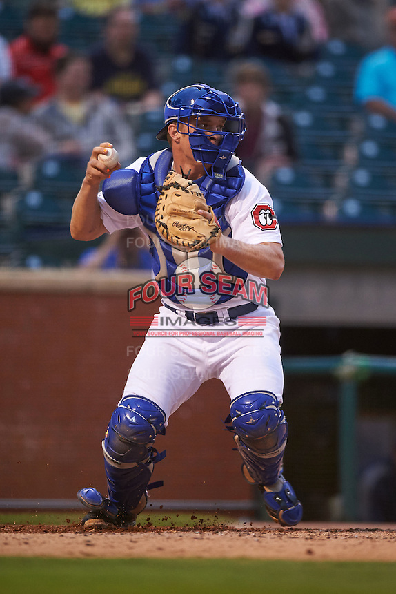 Chattanooga Lookouts catcher Stuart Turner (30) throws down to second during a game against the Jacksonville Suns on April 30, 2015 at AT&T Field in Chattanooga, Tennessee.  Jacksonville defeated Chattanooga 6-4.  (Mike Janes/Four Seam Images)