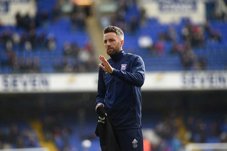 Ipswich Town's Cole Skuse during the pre-match warm-up <br /> <br /> Photographer Hannah Fountain/CameraSport<br /> <br /> The EFL Sky Bet Championship - Ipswich Town v Birmingham City - Saturday 13th April 2019 - Portman Road - Ipswich<br /> <br /> World Copyright © 2019 CameraSport. All rights reserved. 43 Linden Ave. Countesthorpe. Leicester. England. LE8 5PG - Tel: +44 (0) 116 277 4147 - admin@camerasport.com - www.camerasport.com