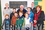 Former great Kerry footballer Jerry Brosnan Of Moyvane pictured outsde  Con Brosnan Park in Moyvane. Front: Padraig Trant, Aodan behan, Cillian Trant, Maire Trant, Aoife Behan & Geraldine Behan. Back : P. J Stack, Jerry Brosnan & Shane Stack.....Ref: Jim  Sports Editor