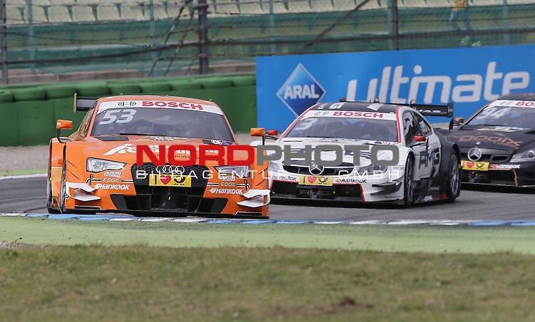 DTM 2015, 01.Lauf Hockenheimring, 01.05. - 03.05.15 <br /> Jamie Green (GBR#53) Audi Sport Team Rosberg Audi RS 5 DTM , Paul Di Resta (GBR#3) Silberpfeil Energy Mercedes-AMG C-Coup&eacute; , Pascal Wehrlein (DEU#94) gooix/Original-Teile Mercedes-AMG C-Coup&eacute;<br /> <br /> <br /> <br /> Foto &copy; nordphoto /  Bratic