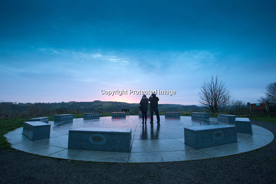 21/12/16<br /> <br /> After the longest night of the year, early-risers celebrate the winter Solstice at dawn as the rays from the sun struggle to break through the clouds at the Stardisc above Wirksworh in the Derbyshire Peak District.<br /> <br /> Since the 2011 unveiling in StarDisc has attracted tens of thousands of visitors and delivers wide ranging benefits to the local community. Events, performances and activities staged at StarDisc inspire and educate people from all walks of life and celebrate our place amongst the stars.<br /> The StarDisc Trust charity now aspires to establish The StarDisc Array; an earthbound constellation of StarDiscs across the United Kingdom, replicating the success of the inaugural StarDisc.<br /> <br /> All Rights Reserved F Stop Press Ltd. (0)1773 550665   www.fstoppress.com