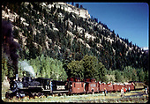 RGS #74 with RMRRC excursion at Illium after train has turned on the wye.  Consist is cabooses #0400 and #0401, three gondolas and business car B-20 &quot;Edna&quot;.<br /> RGS  Illium, CO  Taken by Pfeifer, Jack A. - 9/2/1951