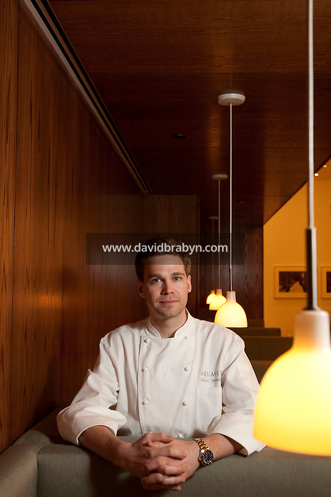 Swedish chef Marcus Jernmark poses for the photographer in the main dining of the Aquavit restaurant in New York, NY, 8 APril 2010. Jernmark was appointed chef in February 2010.
