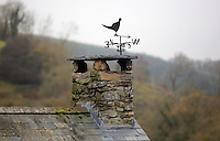 FAO JANET TOMLINSON, DAILY MAIL PICTURE DESK<br />Pictured: A weather vane on one of the chimneys Monday 14 November 2016<br />Re: The Dog House in the village of Talog, Carmarthenshire, Wales, UK