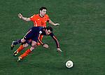 Xavi is fouled by Mark Van Bommel 2010 FIFA World Cup - Johannesburg, South Africa, Sunday, July, 11, 2010. Final match, Netherlands vs Spain, Soccer City Stadium (credit & photo: Pedja Milosavljevic / +381 64 1260 959 / thepedja@gmail.com / STARSPORT )
