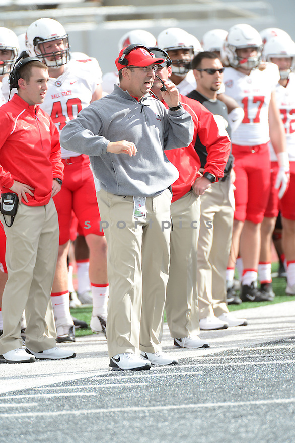 Ball State Cardinals Pete Lembo (HC) during a game against the Eastern Michigan Eagles on September 19, 2015 at Rynearson Stadium in Ypsilanti, MI. Ball State beat Eastern Michigan 28-17.