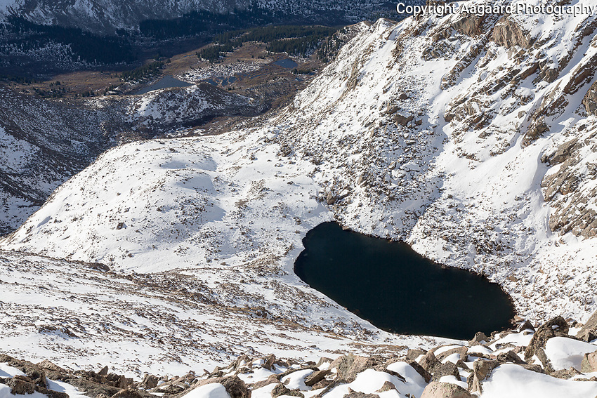 Frozen Lake from the summit of Mt. Bierstadt