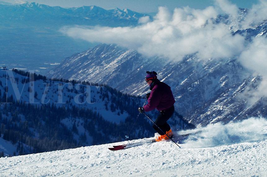 A skiier at Snowbird Ski Resort. Utah.