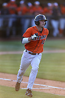 A.J. Kennedy (10) of the Cal State Fullerton Titans runs to first base during a game against the Cal Poly Mustangs at Goodwin Field on April 2, 2015 in Fullerton, California. Cal Poly defeated Cal State Fullerton, 5-0. (Larry Goren/Four Seam Images)