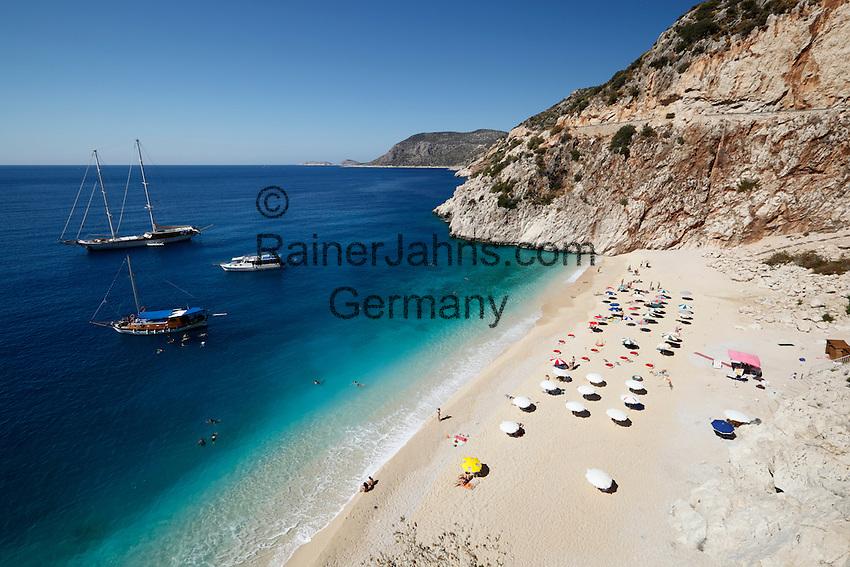 Turkey, Province Antalya, near Kalkan: Kaputas beach   Tuerkei, Provinz Antalya, bei Kalkan: Kaputas beach