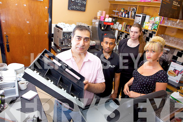 Namir Karim and staff members Abraham Noor, Rebecca Spangl and Sharon Farrelly from Scribes Restaurant Listowel, which was recently broke into in the early hours of Tuesday morning.