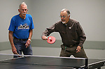 Bob Peterson, left, and Bill Kenson practice for the Reno Tahoe Senior Games table tennis competition at the Carson City Senior Citizen Center in Carson City, Nev., on Friday, Jan. 29, 2016. <br /> Photo by Cathleen Allison