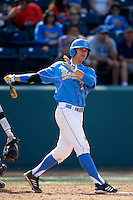 Kevin Kramer #7 of the UCLA Bruins bats against the California Golden Bears at Jackie Robinson Stadium on March 23, 2013 in Los Angeles, California. (Larry Goren/Four Seam Images)