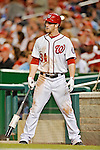 18 May 2012: Washington Nationals outfielder Bryce Harper on deck during a game against the Baltimore Orioles at Nationals Park in Washington, DC. The Orioles defeated the Nationals 2-1 in the first game of their 3-game series. Mandatory Credit: Ed Wolfstein Photo