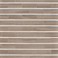 Gracie, a hand-cut stone mosaic, shown in honed Driftwood and polished Calacatta.