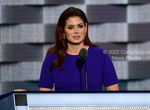 Actress Debra Messing makes remarks during the second session of the 2016 Democratic National Convention at the Wells Fargo Center in Philadelphia, Pennsylvania on Tuesday, July 26, 2016.<br /> Credit: Ron Sachs / CNP<br /> (RESTRICTION: NO New York or New Jersey Newspapers or newspapers within a 75 mile radius of New York City)