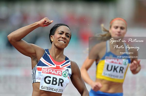 Tiffany Porter (GBR) celebrates. Womens 100m Hurdles.  Day 2. European Team Athletics Championships. Gateshead. Tyne and Wear. UK. 23/06/2013. <br />  MANDATORY Credit Garry Bowden/SIPPA - NO UNAUTHORISED USE - 07837 394578