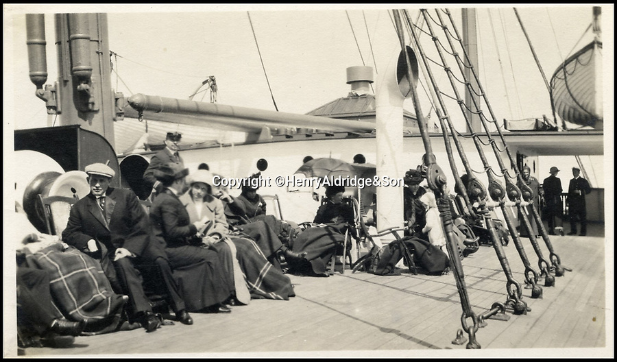 BNPS.co.uk (01202 558833)<br /> Pic: HAldridge/BNPS<br /> <br /> ***Please Use Full Byline***<br /> <br /> Rescued Titanic passengers on board the Carpathia in the aftermath of the disaster.<br /> <br /> Golden gift of gratitude - A beautiful gold watch three wealthy widows gifted to the captain of the Carpathia who rescued them from the Titanic disaster is to be sold for £50,000.<br /> <br /> Madeline Astor, Marian Thayer and Eleanor Widener bought the 18ct gold pocket watch from Tiffany & Co after they returned safely to New York following the sinking that claimed there husbands lives.<br /> <br /> They presented it to Capt Arthur Rostron as an expression of thanks and gratitude for rescuing them and attempting to save their three husbands who all drowned.<br /> <br /> The watch is now coming up for sale at Henry Aldridge and Son of Devizes, Wilts.