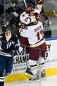 Cam Atkinson (BC - 13), Brian Gibbons (BC - 17) - The Boston College Eagles defeated the Yale University Bulldogs 9-7 in the Northeast Regional final on Sunday, March 28, 2010, at the DCU Center in Worcester, Massachusetts.