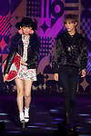 "(L to R) Yura, Devil, September 28, 2014, Tokyo, Japan : (L to R) Models Yura and Devil wearing fashion brand ""Zipper"" walk down the catwalk during the ""Moshi Moshi Nippon Festival 2014"" on September 28, 2014 in Tokyo, Japan. Several famous Idols such as Dempagumi idol group, Kyary Pamyu Pamyu and Harayuku models attend the Moshi Moshi Nippon Festival 2014 to promotes the Japanese pop culture (fashion, anime, music and food) to non-Japanese people. (Photo by Rodrigo Reyes Marin/AFLO)"