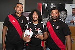 Under 19's Player of the Year Uini Fetalaiga from Ardmore Marist with Steelers Jimmy Tupou and Jordan Taufua.  Counties Manukau Rugby Unions Junior Prize giving held at ECOLight stadium on Thursday October 22nd 2015. Photo by Richard Spranger