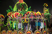 Imperatriz Leopolinense Samba School, Carnival, Rio de Janeiro, Brazil, 26th February 2017. The 'Beautiful Monster' - Belo Monstro - float. The Kayapo Indians are at the front of the float; from left: Beptirití Kayapó, Beptuk Metuktire, Kamikiá Kisedje, Raoni Metuktire, Megaron Txucarrhamãe, Bemoro Metuktire and Kreton Panará.