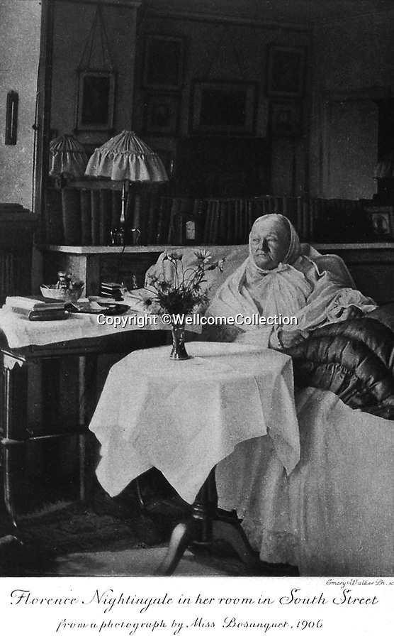 BNPS.co.uk (01202 558833)<br /> Pic: Amberley/BNPS<br /> <br /> Pictured: An elderly, Florence Nightingale pictured in 1906<br /> <br /> These rarely seen photos which provide a fascinating insight into British nursing in late 19th century feature in a new book.<br /> <br /> They reveal how the all-action nurses not only cared for patients but also prepared meals for them and did their laundry.<br /> <br /> Such was their ferocious work ethic, it is perhaps surprising they had time to be pictured sitting down together in the nurses dining room.<br /> <br /> One photo shows trainee nurses during a bandaging class, while another is of a busy male ward.<br /> <br /> The images are published in A History of Nursing, by former nurse Louise Wyatt who has charted the development of nursing from antiquity and the Middle Ages to the present day.