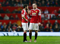 Wayne Rooney of Manchester United and Juan Mata during the Barclays Premier League match between Manchester United and Swansea City played at Old Trafford, Manchester on January 2nd 2016