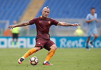 Calcio, Serie A: Roma vs Sampdoria. Roma, stadio Olimpico, 11 settembre 2016.<br /> Roma&rsquo;s Radja Nainggolan kicks the ball during the Italian Serie A football match between Roma and Sampdoria at Rome's Olympic stadium, 11 September 2016. Roma won 3-2.<br /> UPDATE IMAGES PRESS/Isabella Bonotto